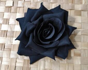 Pin up big deep black velvet rose flower vintage rockabilly wedding 40s 50s gothic psychobilly
