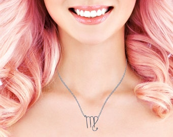 Virgo Necklace - Astrological Symbol Jewelry - Zodiac Sign Necklace - Birthday Gift For Virgo Woman, Gift For Friend, Sister, Gifts Under 15