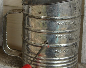 Red Handled Brownell Flour Sifter