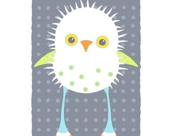 Children art, cute bird illustration, modern nursery wall decor, whimsical art, kids room animal print, baby animal art, white, gray 18