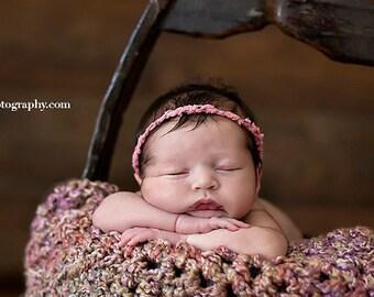 Pink Tattered Fabric Tieback Headband Newborn Photography
