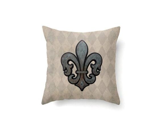 French decor, Fleur de Lis pillow, throw pillow cover, rustic decor, vintage style, fleur de lis ...