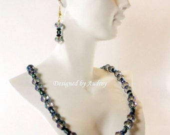 Blue Necklace and Earring Set - Deep Blue Crystal Northern Lights Necklace With Matching Earrings