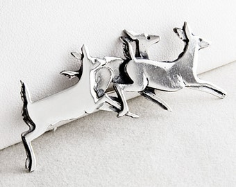 Running Deer Sterling Silver Pin Brooch