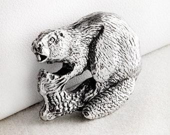 Busy Beaver Sterling Silver Pin Brooch