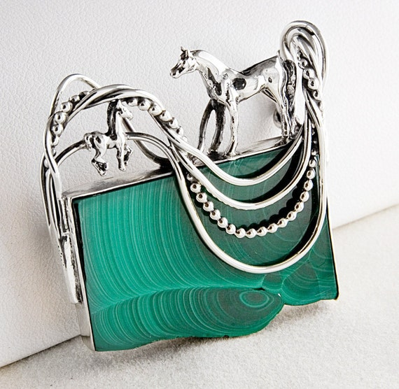 Horses in Pasture Malachite and Sterling Silver Pin