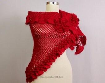Red Shawl, Bridal Shawl, Crochet Shawl, Bridal Wrap, Flower Shawl, Wedding Wrap, Bridal Shrug Bolero, Cover Up, Boho, Gypsy, Hippie, Gift