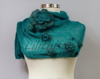Knit Sweater Shrug, Crochet Shrug, Teal 3/4 Sleeve Flowers Shrug, Knit Bolero, Bridal Shrug Bolero, Winter Wedding Shrug, Gift For Her S/M/L