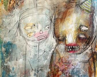 Abstract Clown Portrait, Original Art Print. Dark Carnival wall art, whimsical art. circus puppet figures, Outsider Art, Raw art