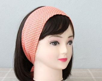 Orange headbands for women geometric print headband adult  headband woman pin up headband tie up headband orange head wrap retro hair wrap