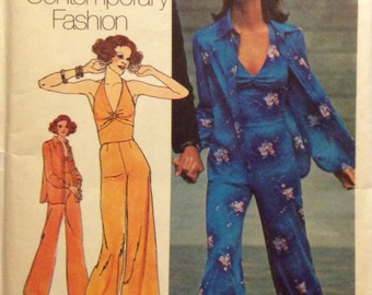 Vintage Sewing Pattern 1974 Hip Hugger Wide Leg Pants Halter To Jacket Misses Size 10 Uncut