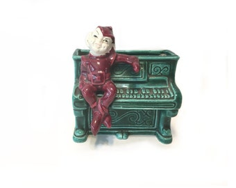 Vintage Pixie Elf Planter, Elf Sitting On Piano, Ceramic Planter, Ceramic Wall Pocket, Ceramic Elf, Ceramic Pixie Planter, Elf Wall Pocket