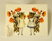 Postcard Mini Print-Vintage Anthropomorphic Cats with Flowers Original Collage