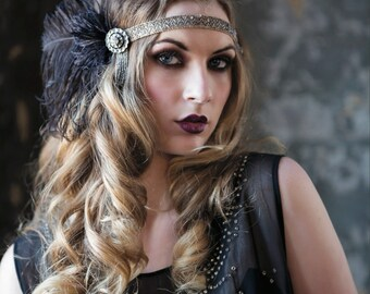 1920's headpiece edwardian headband of silver beaded trim and cruelty free black ostrich feathers- Audrey