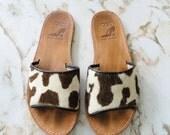 1990s Minimalist Leather Pony Hair Slide Sandals Size 7.5