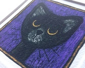 Black Cat Picture - Small cat print of original sad cat drawing - art gift for cat lovers - unframed picture - amethyst purple