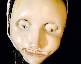 "OOAK Stoneware handmade clay figurine ""A Bad Habit""...Naughty Nun artdoll"