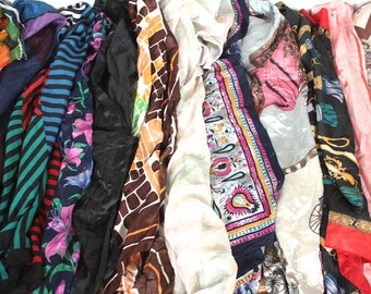12 Vintage Scarf Collection // 1940s 50s 60s 70s // 12 Scarf Bulk Lot // Mod #J3
