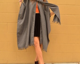 Vintage CAPE with Wrap Scarf Sherlock Holmes Poncho with Fringe