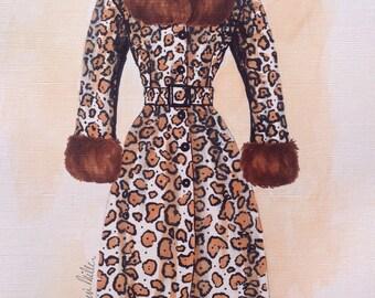Fashion illustration.Leopard print.Fashion art.Art for girls.Gifts for her.Art for women.Fashion painting.leopard decor.Vintage fashion art