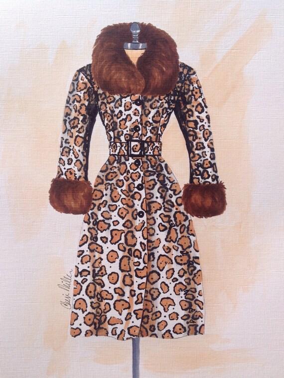 Fashion Illustration Leopard Coat Fur Coat Fashion Drawing