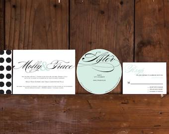 Polka Dot Calligraphy Wedding Invitation,Confetti Wedding Invitation,Modern Preppy Calligraphy Wedding Invitation, Preppy Polka Dote Invites