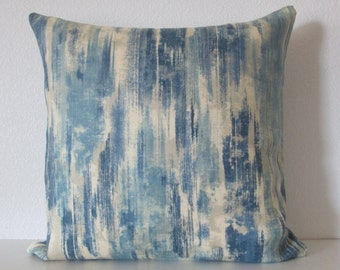 Hope Chest Pacific blue paint streak motif linen decorative pillow cover