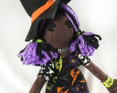 Witch Doll - Cloth Witch Doll - Cloth Halloween Doll- Witch Art Doll- Gift For Goths - Witch Hat- Gothic Gift- Halloween Party Decor