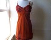 Slip Dress 32/34 Small Orange Pumpkin Glam Garb Handmade USA Romantic Nightie Victorian Steampunk Vintage Hand Dyed Rockabilly Bohemian Chic