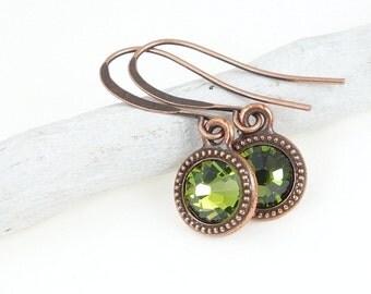 Birthstone Jewelry Copper Earrings Green Swarovski Crystal Earrings Minimalist Jewelry Very Small Olive Olivine Green Earring Copper Jewelry