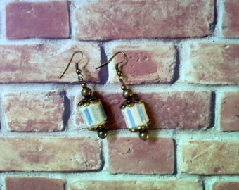 Rustic Blue, Ivory and Brass Ethnic Earrings (2166)