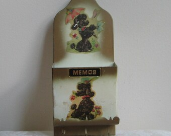 Vintage Black Poodles Metal Wall Organizer Memos Key Holder, File Box for Mail Letters & Bills, Whimsical Mid Century