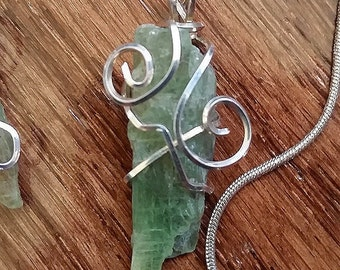 Silver Wire Wrapped Green Kyanite Pendant