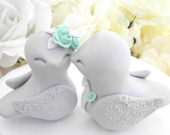 Love Birds Wedding Cake Topper, Light Grey, Mint Green and White - Bride and Groom Keepsake, Fully Custom