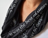 Tale of Two Cities Scarf, Charles Dickens Scarf, Book Lover Gift