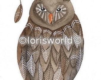 Watercolor Original Painted Art Bird Owl by Lorisworld - Bird No.58