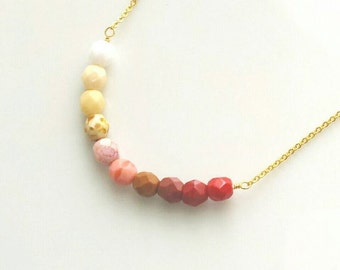 Ombre Necklace - pink red gradient shaded multicolor necklace w/ simple line of Czech glass faceted beads - simple delicate gold plate chain