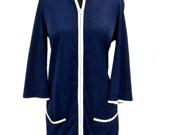 SALE vintage zip-up robe - 1950s-60s Gossard Artemis navy/white coverup lounge robe