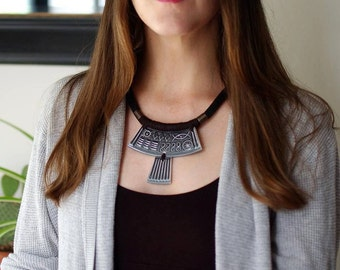 StayGoldMaryRose - Large vintage ceramic cypher-crescent statement neck piece in pewter grey glaze.