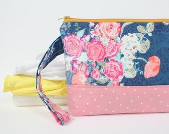 diaper and wipes clutch -- midnight flora