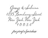 Custom Calligraphy Script Return Address Stamp. Mounted with Handle or Self-Inking Address Stamp (20367) 2 1/2 x 1 1/2 (4 Lines)