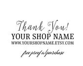 Custom Personalized Thank You Business Stamp  (featuring your shop name and web address)  Mounted with Handle or Self-Inking - 20425