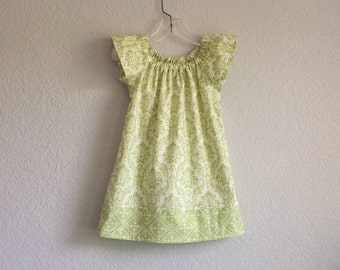 Girls Sage Green Flutter Sleeve Dress - Green and Cream Damask Print Dress - Girls Green Clothing - Size 12m,18m, 2T, 3T, 4T, 5, 6 or 8