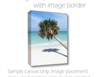 Coastal Wall Art-Palm Tree Photo-Beach Photography-Vertical Art-Photo Canvas-24x36-Sarah C Perkins-Tropical Decor-Nautical-Teal-Blue-White