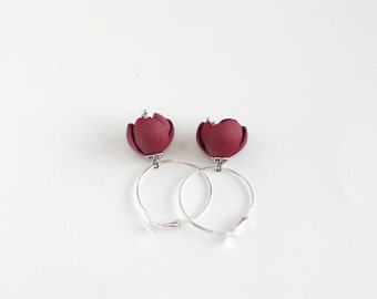 Leather earrings in dark red wine