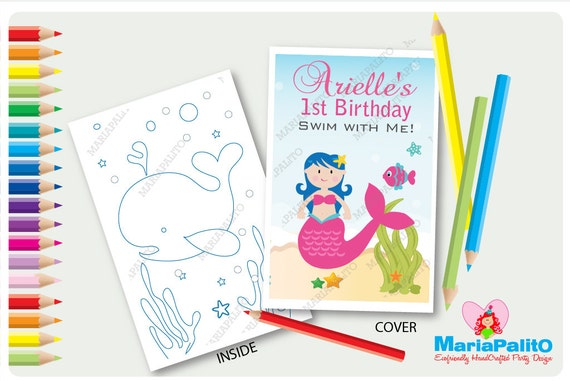 6 Mermaid Coloring Books, Under The sea Birthday Party, Personalized ...