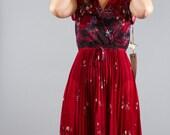 Vintage Maroon Deadstock Sleeveless Floral BOHO Hippie Dress 1970s 70s Bohemian Alrich Nos