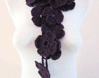 Crochet Lariat Scarf, purple Flower Lariat Scarf, Long Necklace Jewelry