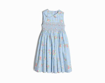 Vintage Girl's Dress / 80s Baby Blue Floral Party Dress / Girl's Easter Dress - Little Girl's 5Y