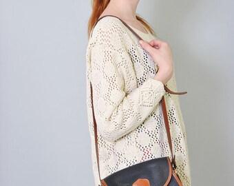 Vintage Dooney & Bourke Navy Satchel Tan Crossbody Leather Purse Handbag 80s Designer Shoulder Bag